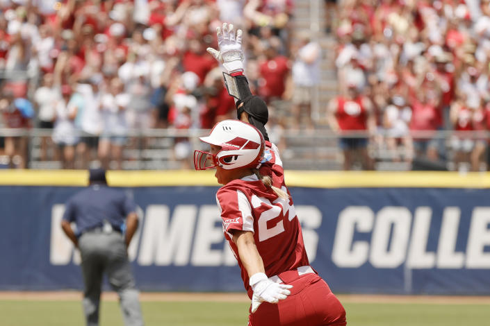 Jayda Coleman reacts after hitting a home run during the second inning of Game 3 of the Women's College World Series Championship against the Florida St. Seminoles at USA Softball Hall of Fame Stadium on June 10, 2021 in Oklahoma City, Oklahoma.