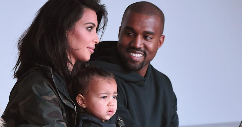 Happier times: Kim Kardashian, North West and Kanye West attend Mercedes-Benz Fashion Week (Copyright: Getty/Gary Gershoff)