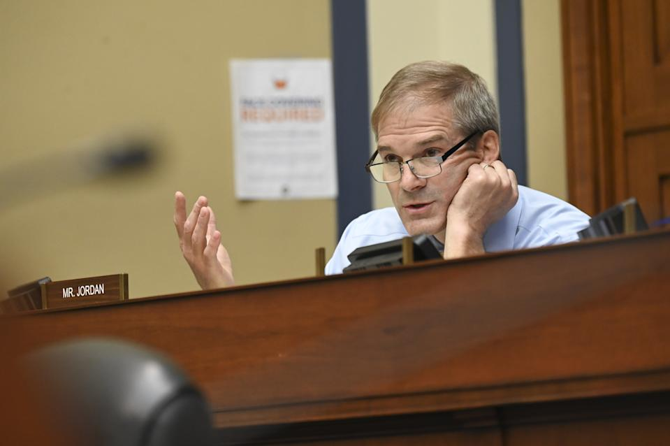 Representative Jim Jordan, a Republican from Ohio, speaks during a House Select Subcommittee on the Coronavirus Crisis hearing in Washington, D.C., U.S., on Friday, July 31, 2020. (Erin Scott/Bloomberg via Getty Images)