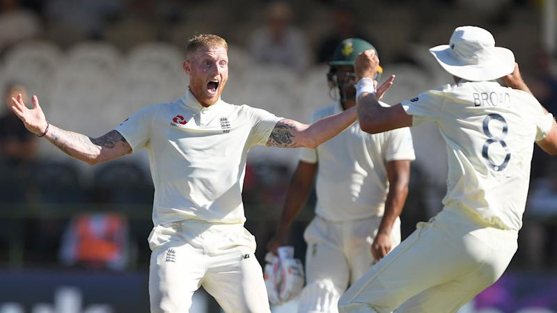 Ben Stokes celebrates a wicket for England on day five against South Africa.