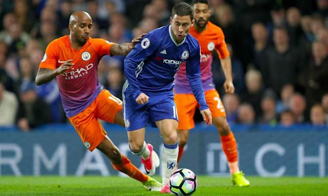 "<span class=""element-image__caption"">Eden Hazard was in sparkling form again and at the centre of all Chelsea's good work in the vital 2-1 home victory against Manchester City.</span> <span class=""element-image__credit"">Photograph: Mike Egerton/PA</span>"