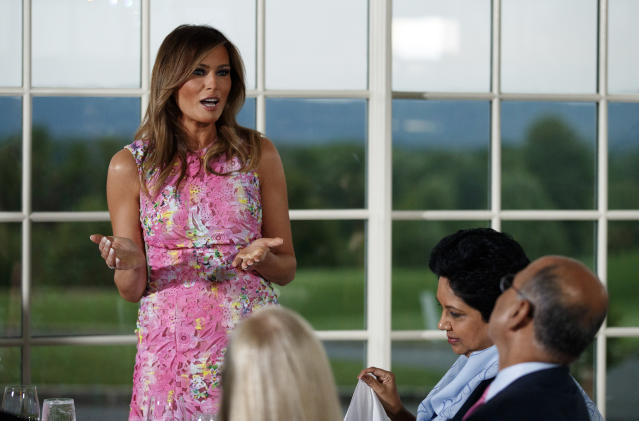 Melania Trump recycled a pink Monique Lhuillier dress to meet with business leaders. (Photo: AP Photo/Carolyn Kaster)