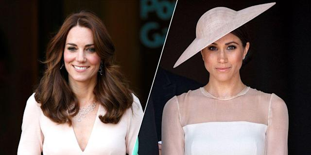 """<p>Ever since the news of Meghan Markle and Prince Harry's <a href=""""http://www.cosmopolitan.com/entertainment/celebs/a13931551/prince-harry-meghan-markle-engaged/"""" rel=""""nofollow noopener"""" target=""""_blank"""" data-ylk=""""slk:engagement broke"""" class=""""link rapid-noclick-resp"""">engagement broke</a> in November, the Internet (and the world) has been busy dissecting Meghan's personal style - from figuring out <a href=""""http://www.cosmopolitan.com/style-beauty/fashion/a13939086/meghan-markle-engagement-coat/"""" rel=""""nofollow noopener"""" target=""""_blank"""" data-ylk=""""slk:where she buys her coats"""" class=""""link rapid-noclick-resp"""">where she buys her coats</a> to who <a href=""""http://www.cosmopolitan.com/style-beauty/fashion/a14000284/meghan-markle-strathberry-handbag-sells-out/"""" rel=""""nofollow noopener"""" target=""""_blank"""" data-ylk=""""slk:makes her handbags"""" class=""""link rapid-noclick-resp"""">makes her handbags</a>, and, importantly, who designed her <a href=""""https://www.cosmopolitan.com/style-beauty/fashion/a19609447/meghan-markle-wedding-dress/"""" rel=""""nofollow noopener"""" target=""""_blank"""" data-ylk=""""slk:incredible wedding dress"""" class=""""link rapid-noclick-resp"""">incredible wedding dress</a>.</p><p>And when you become royalty, it's natural to be compared to the women who came before you, which is why people have been drawing parallels between Meghan's aesthetic and Kate Middleton's look. Below, all the times they dressed *exactly* the same. </p>"""
