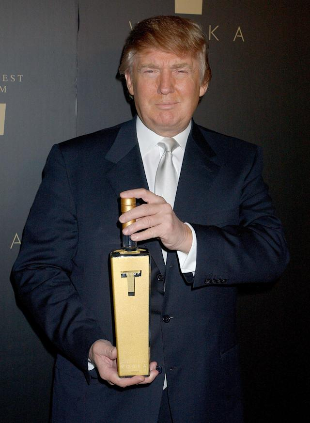 Donald Trump toasts Trump Vodka at a party in L.A. on Jan. 17, 2007. (Photo: Gregg DeGuire/WireImage)