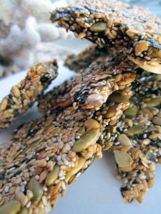 Seed Weed Snacks 3 large, raw Nori Sheets (seaweed) 1/4 cup each of: Flax Seeds Chia Seeds Raw Sunflower Seeds Raw Pumpkin Seeds Sesame Seeds More: