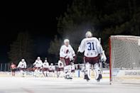 <p>Cale Makar #8 of the Colorado Avalanche congratulates goaltender Philipp Grubauer #31 after defeating the Vegas Golden Knights in the 'NHL Outdoors At Lake Tahoe' at the Edgewood Tahoe Resort on February 20, 2021 in Stateline, Nevada. The Avalanche defeated the Golden Knights 3-2. (Photo by Christian Petersen/Getty Images)</p>