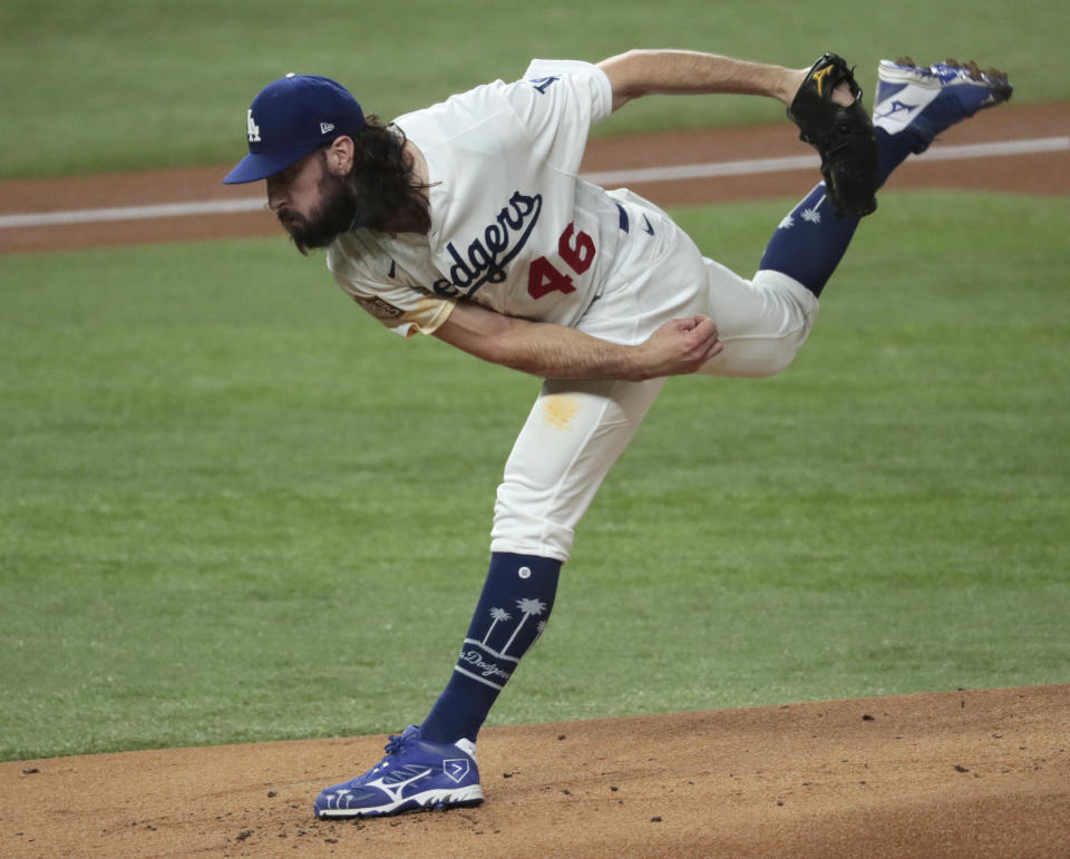 Arlington, Texas,  Tuesday, October 27, 2020 Los Angeles Dodgers starting pitcher Tony Gonsolin (46) pitches the first inning in game six of  the World Series at Globe Life Field. (Robert Gauthier/ Los Angeles Times via Getty Images)