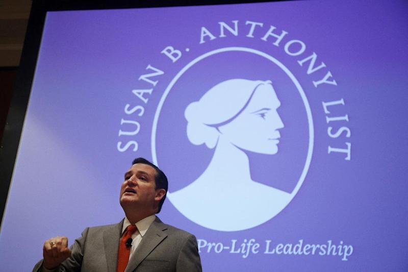 "Sen. Ted Cruz, R-Texas speaks at the Susan B. Anthony List ""Campaign for Life Gala and Summit"", a gathering of anti-abortion advocates, in Washington, Wednesday, March 12, 2014. Looking to aid political candidates who share their views, anti-abortion activists are auditioning potential 2016 presidential contenders. Like many evangelicals, the Susan B. Anthony List is in search of an anti-abortion crusader who has a shot at winning the Republican nomination in 2016 after back-to-back presidential nominees that left the socially conservative wing of the GOP ambivalent at best. (AP Photo/Charles Dharapak)"