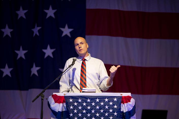 J.D. Scholten, speaks during the Democratic Wing Ding event in August in Clear Lake, Iowa. (Photo: Daniel Acker/Bloomberg via Getty Images)