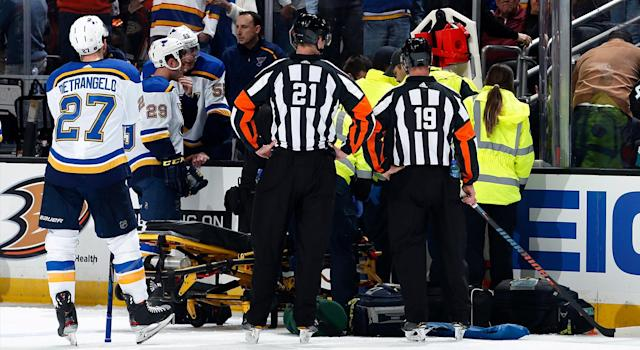 Jay Bouwmeester of the St. Louis Blues collapsed on the bench during the first period of the game against the Anaheim Ducks at Honda Center on February 11. (Debora Robinson/NHLI via Getty Images)