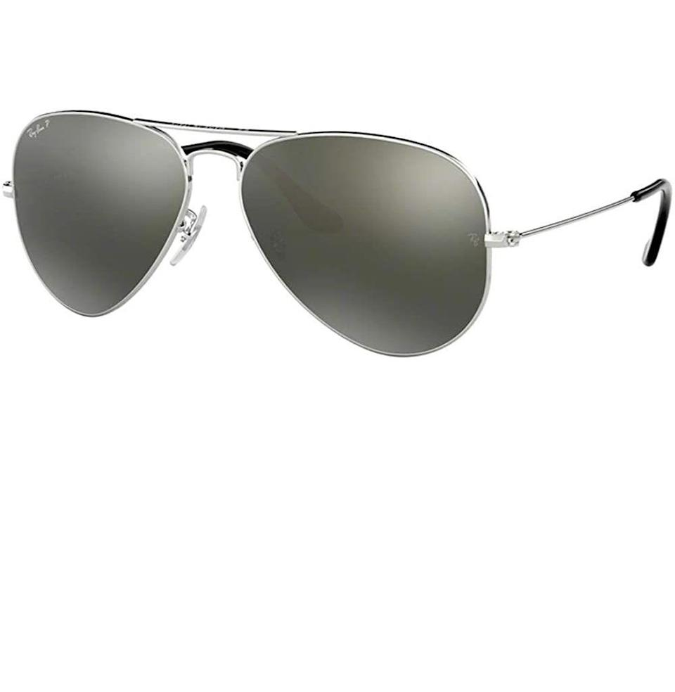 """<p><strong>Ray-Ban</strong></p><p>amazon.com</p><p><strong>$211.00</strong></p><p><a href=""""https://www.amazon.com/dp/B01BVRHLXE?tag=syn-yahoo-20&ascsubtag=%5Bartid%7C10054.g.36186166%5Bsrc%7Cyahoo-us"""" rel=""""nofollow noopener"""" target=""""_blank"""" data-ylk=""""slk:Buy"""" class=""""link rapid-noclick-resp"""">Buy</a></p><p>Can't beat 'em. With silver frames and eye-protecting polarized frames, these work for a """"silver year"""" gift, or any year your husband feels like looking cool.</p>"""