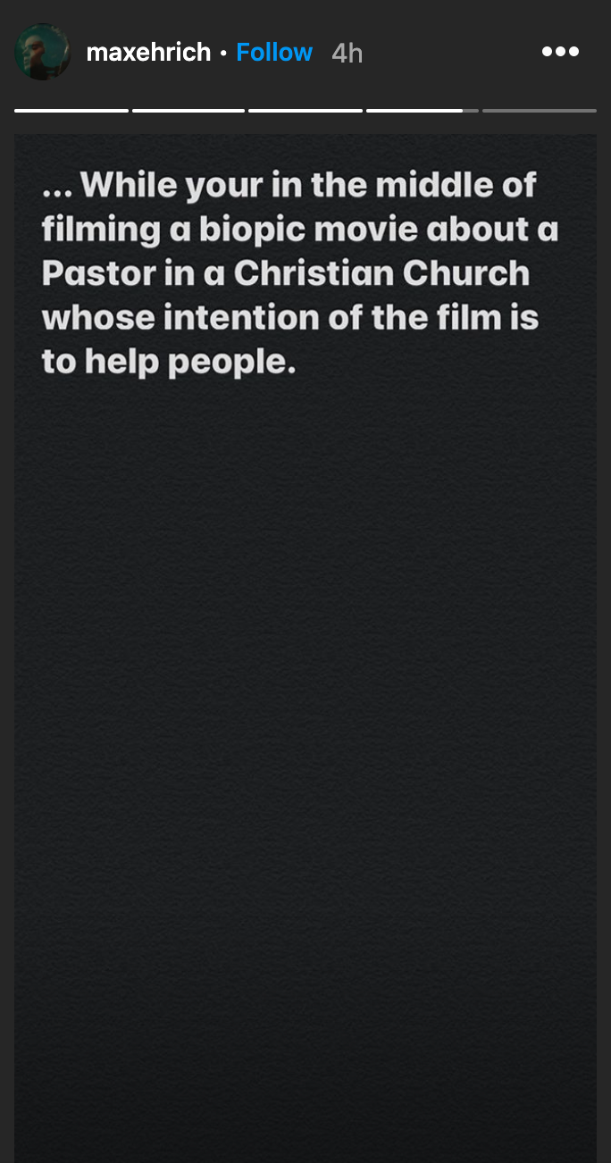Actor Max Ehrich said he was filming a movie when he discovered that his relationship with Demi Lovato was over. (Screenshot: Instagram/Max Ehrich)