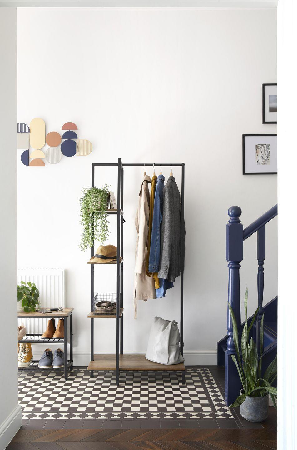 """<p>Get your <a href=""""https://www.housebeautiful.com/uk/lifestyle/cleaning/a35215965/spring-cleaning-decluttering-tips/"""" rel=""""nofollow noopener"""" target=""""_blank"""" data-ylk=""""slk:spring clean"""" class=""""link rapid-noclick-resp"""">spring clean</a> on and declutter your hallway with the help of Dunelm's practical storage units. Keep shoes, coats and bags neatly displayed without breaking the bank. </p><p>Dunelm say: 'Organise your space in style with this ultra<br>minimal Scandi inspired clothes rail, complete with shelving to store shoes, accessories and trinkets.'<br></p>"""
