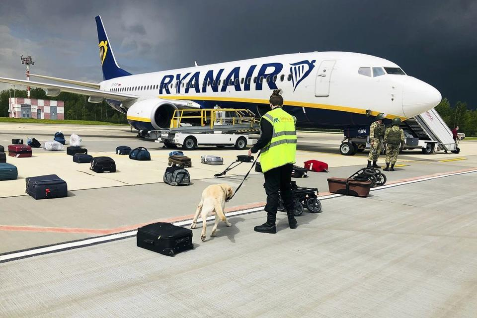 FILE - In this May 23, 2021, file photo provided by ONLINER.BY, a dog checks luggage from a Ryanair jet that carried opposition figure Raman Pratasevich. The flight was diverted to Minsk, Belarus, after flight controllers told the crew of a bomb threat, and the journalist was arrested on arrival in Minsk. After the European Union banned all flights from Belarus, those who want to leave the country are feeling increasingly cornered. (ONLINER.BY via AP, File)