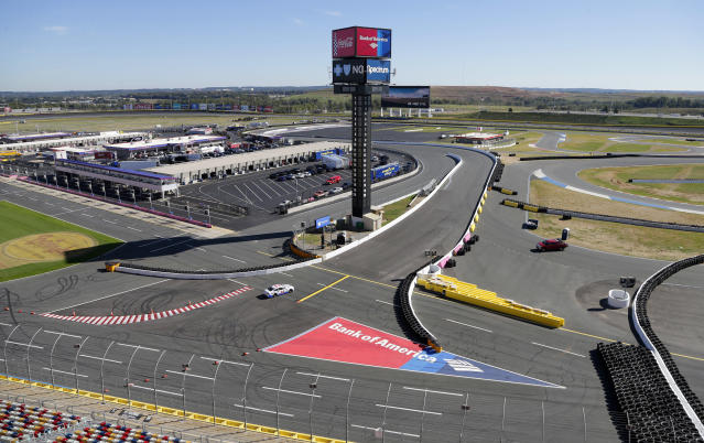 "<a class=""link rapid-noclick-resp"" href=""/nascar/sprint/drivers/156/"" data-ylk=""slk:Kurt Busch"">Kurt Busch</a> drives his car from the oval onto the road course during a test of the Roval course at Charlotte Motor Speedway in Concord, N.C., Wednesday, Oct. 18, 2017. The 2.42 mile Roval course is a combination of the track's oval and the road course and will be used for the 2018 Bank of America 500 NASCAR Cup series auto race next October. (AP Photo/Chuck Burton)"