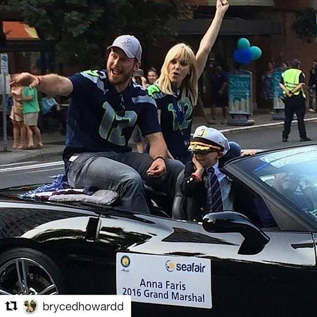 "<p>The whole fam, including Faris and Pratt's son Jack, who turns 5 on Aug. 17, caught a lift designated for them at Seattle's Seafair Torchlight Parade in August 2016, when Faris was honored as the grand marshal. And they looked <a href=""https://www.instagram.com/p/BIvrc9rjqZz/?hl=en&taken-by=annafaris"" rel=""nofollow noopener"" target=""_blank"" data-ylk=""slk:pretty perfect"" class=""link rapid-noclick-resp"">pretty perfect</a> together. (Photo: Anna Faris via Instagram) </p>"