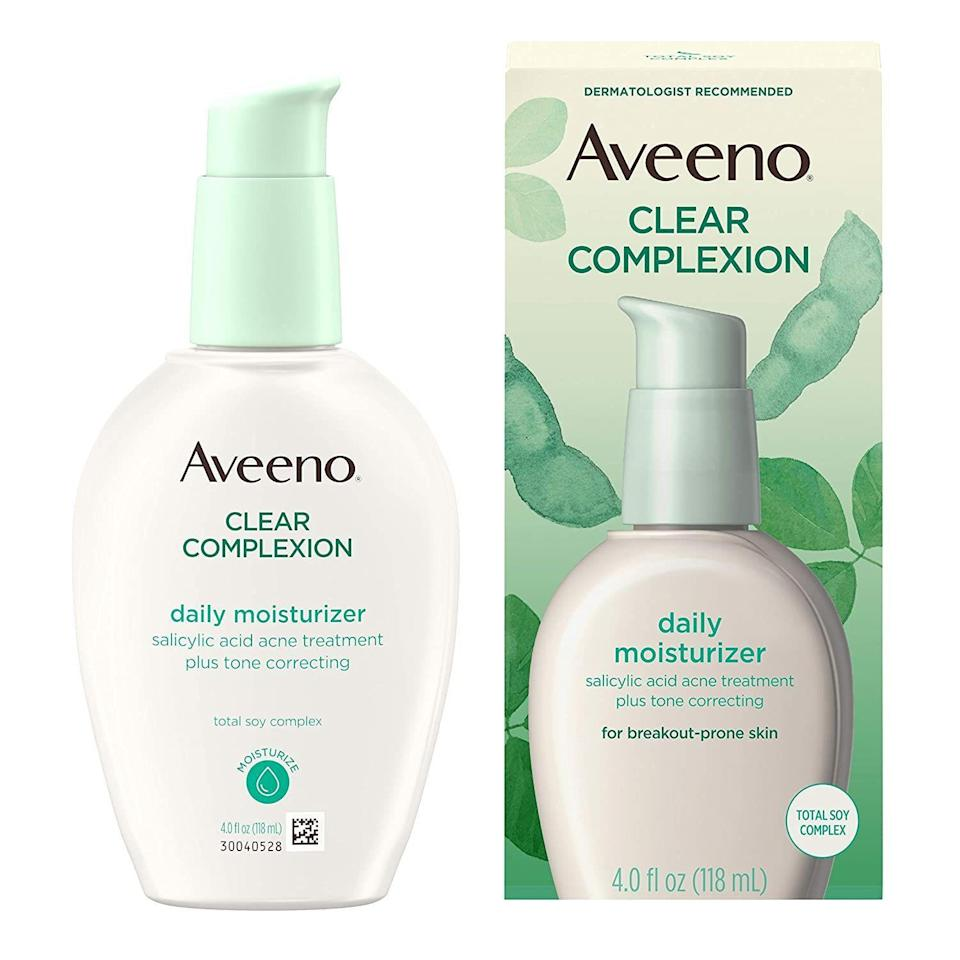 """<p><strong>Aveeno</strong></p><p>amazon.com</p><p><strong>$13.76</strong></p><p><a href=""""https://www.amazon.com/dp/B00006FRW7?tag=syn-yahoo-20&ascsubtag=%5Bartid%7C10051.g.37014835%5Bsrc%7Cyahoo-us"""" rel=""""nofollow noopener"""" target=""""_blank"""" data-ylk=""""slk:Shop Now"""" class=""""link rapid-noclick-resp"""">Shop Now</a></p><p>Not only does the salicylic acid in this moisturizer help fight breakouts, but this product helps get you a smooth, even complexion that everyone wants.</p>"""