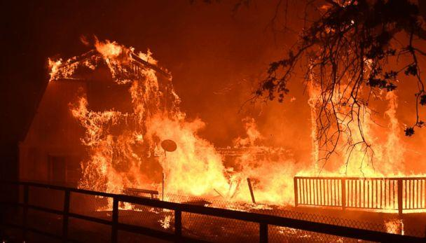 PHOTO: A home burns as overnight firefighters battle the Santa Rosa fire into the morning in Southern California, Nov. 9, 2018. (Gene Blevins/Polaris)