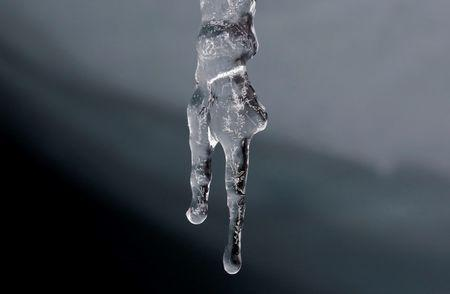 Water drips from an icicle at the leading edge of the Pastoruri glacier in Huaraz