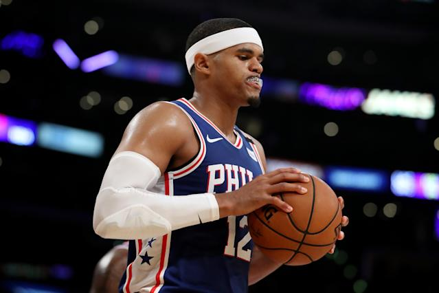 During a short interview on Monday, Tobias Harris called on Kentucky attorney general Daniel Cameron to arrest the cops involved in Breonna Taylor's death. (Katelyn Mulcahy/Getty Images)