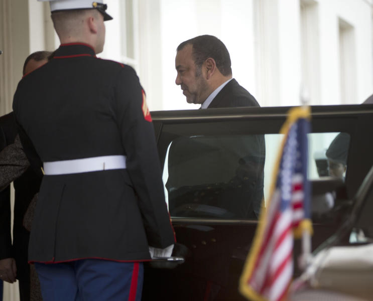 Morocco's King Mohammed VI steps out of his vehicle upon his arrival at the West Wing of the White House in Washington, Friday, Nov. 22, 2013, prior to his meeting with President Barack Obama. (AP Photo/Pablo Martinez Monsivais)