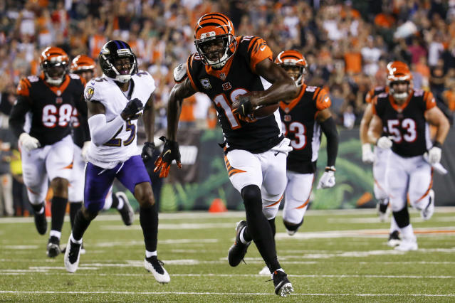 Cincinnati Bengals wide receiver A.J. Green (18) runs for a touchdown in the first half of an NFL football game against the Baltimore Ravens, Thursday, Sept. 13, 2018, in Cincinnati. (AP Photo/Frank Victores)