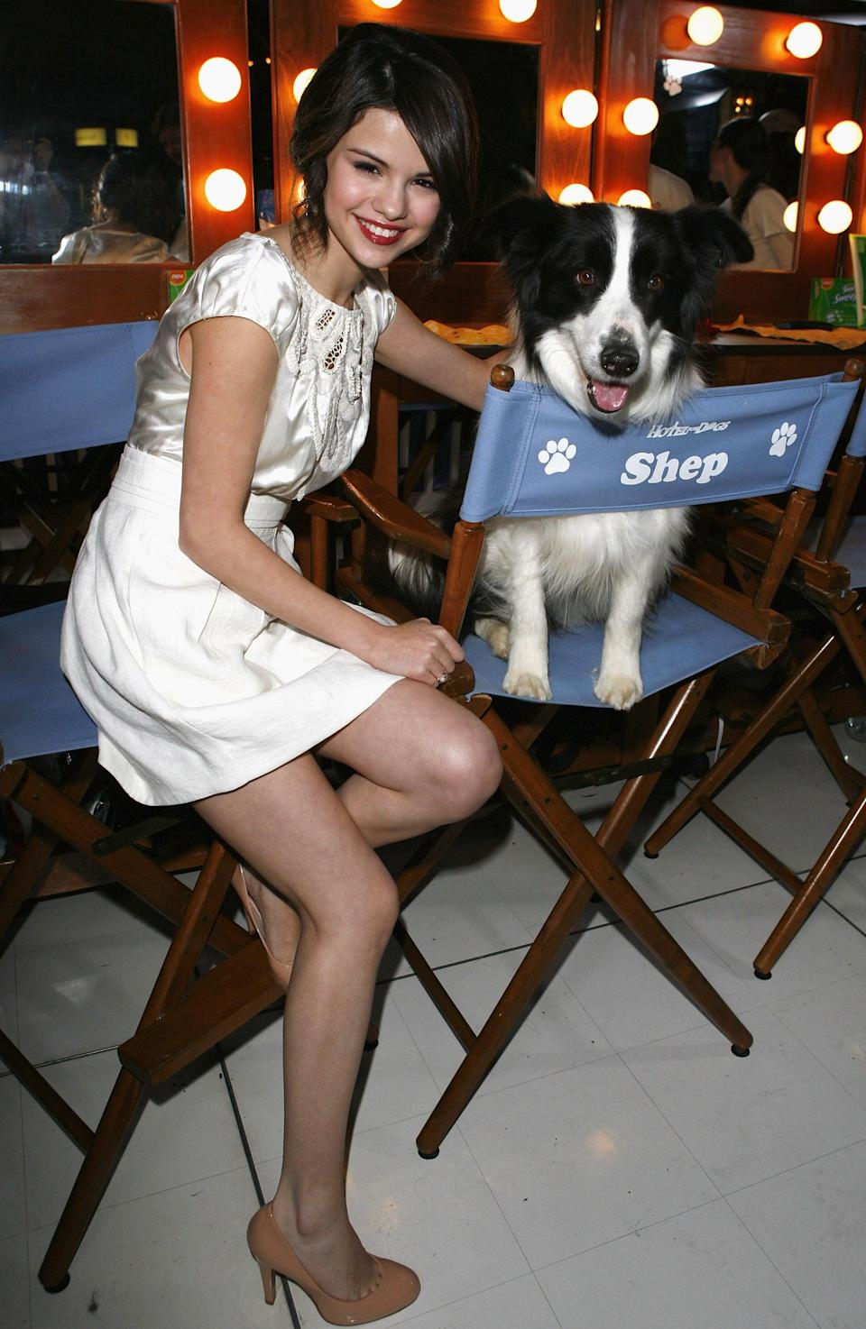 <p>Selena posed with a furry friend at the LA premiere of <b>Hotel For Dogs</b>.</p>