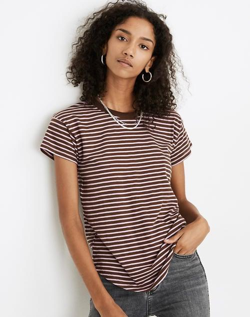 <p>The <span>Madewell Whisper Cotton Rib-Crewneck Tee</span> ($17, originally $25) also comes in this earthy color, which makes it so versatile.</p>