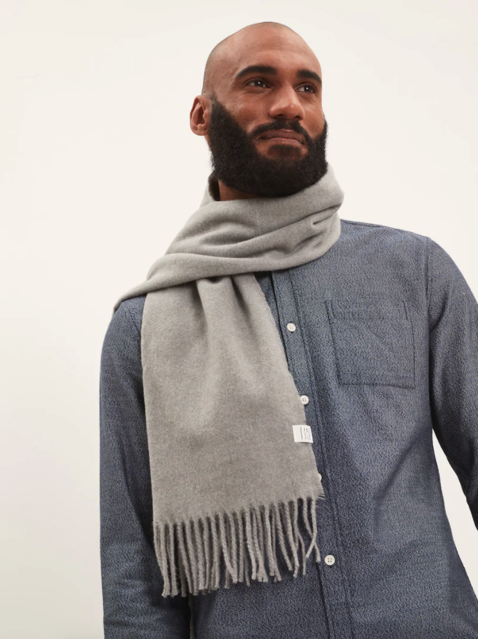 Recycled polyester scarf in Vintage Grey. Image via Frank and Oak.