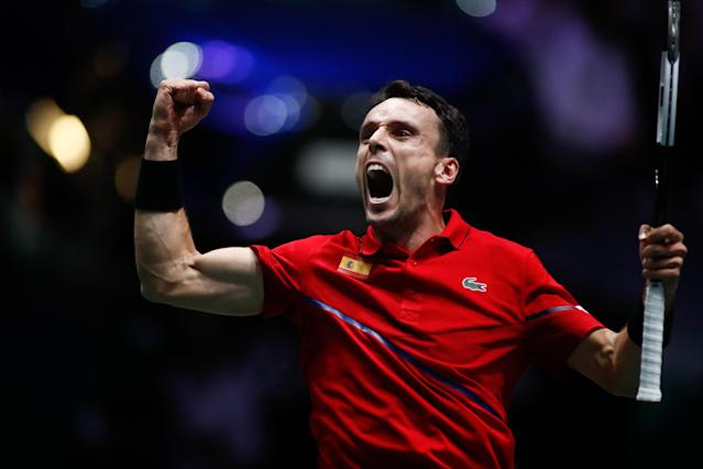 Roberto Bautista celebra su victoria en la final de la Copa Davis. Foto: Óscar J. Barroso / AFP7 / Europa Press Sports via Getty Images.