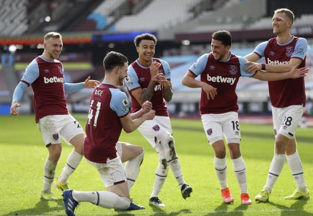 Jesse Lingard, middle, celebrates after scoring for West Ham against Tottenham in February. On-loan Manchester United man Lingard proved to be an inspired signing for David Moyes' men following his arrival in January. His fine goal-scoring form significantly helped the Hammers' push for European qualification, with this musical celebration prompting the quintet involved to be dubbed the 'Backstreet Moyes' by team-mate Michail Antonio