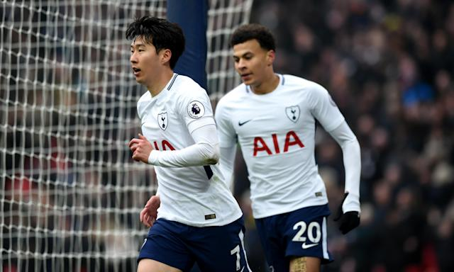 Son Heung-min celebrates his second goal for Spurs against Huddersfield.