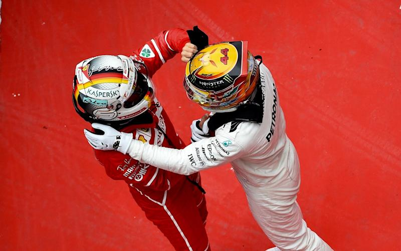 Will Sebastian Vettel and Lewis Hamilton be hugging after the Bahrain GP? - Rex Features