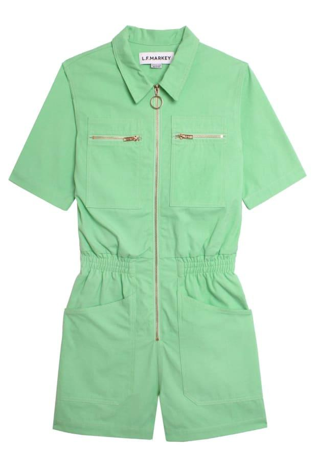 """<p>L.F. Markey Danny Playsuit, $158, <a href=""""https://usa.lfmarkey.com/products/danny-playsuit-mint"""" rel=""""nofollow noopener"""" target=""""_blank"""" data-ylk=""""slk:available here"""" class=""""link rapid-noclick-resp"""">available here</a>.</p>"""