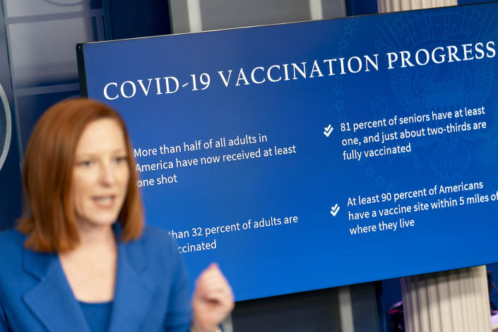 FILE - In this Monday, April 19, 2021 file photo, White House press secretary Jen Psaki gives a COVID-19 vaccination update during a press briefing at the White House in Washington. Even before the coronavirus surfaced, training guides by the Centers for Disease Control and Prevention noted the difficulty of communicating in a public health crisis, when fear and uncertainty are running high. Yet how leaders communicate can be key to winning public cooperation. Or undermining it. (AP Photo/Andrew Harnik)