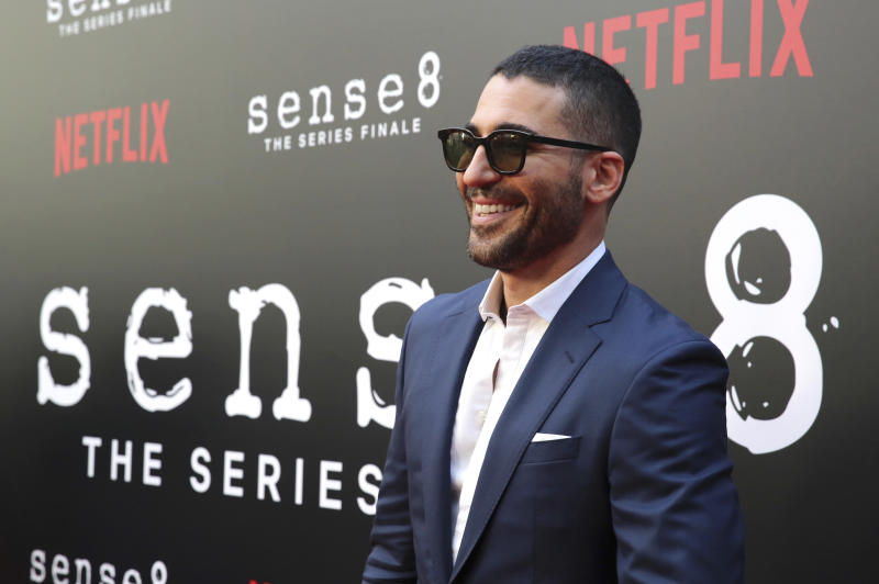 """Miguel Angel Silvestre seen at the screening of Netflix Original Series """"Sense8"""" Finale at the ArcLight Hollywood on Thursday, June 7, 2018, in Los Angeles. (Blair Raughley via AP)"""