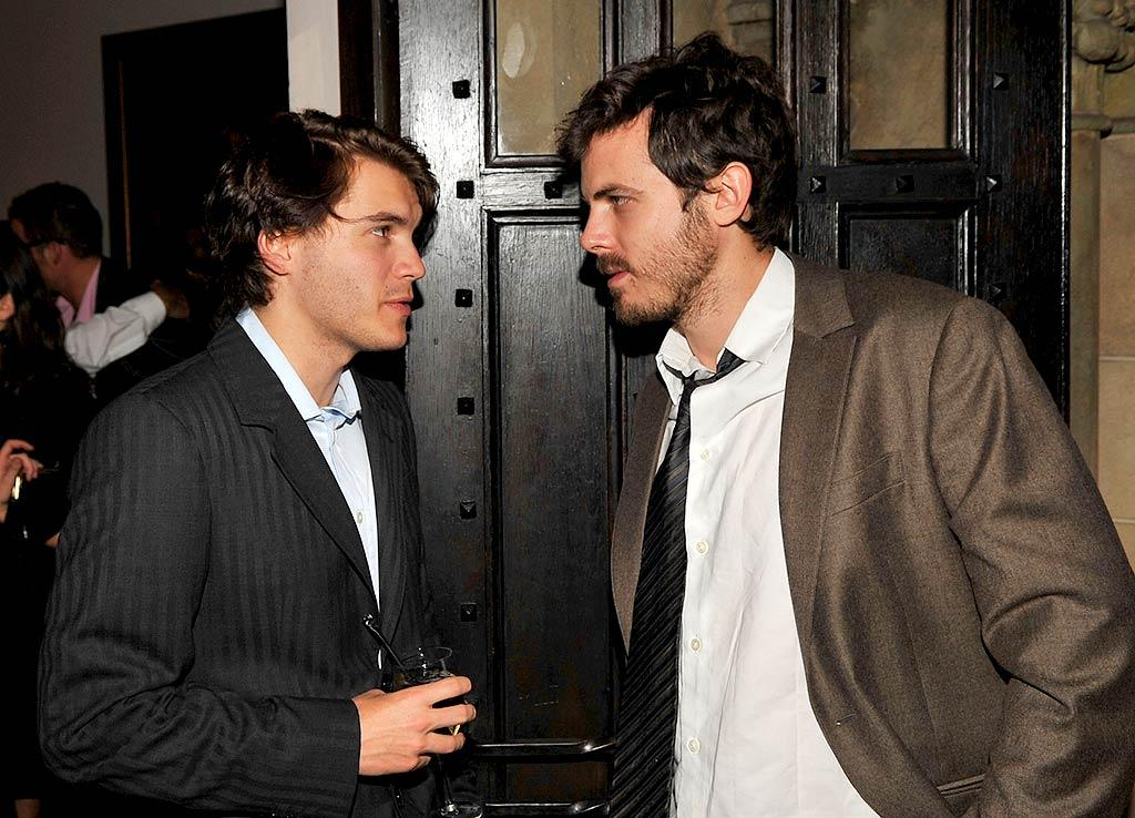 """Emile Hirsch and Casey Affleck - two of Hollywood's newest leading men - opt for a dressed down look. Lester Cohen/<a href=""""http://www.wireimage.com"""" target=""""new"""">WireImage.com</a> - December 5, 2007"""