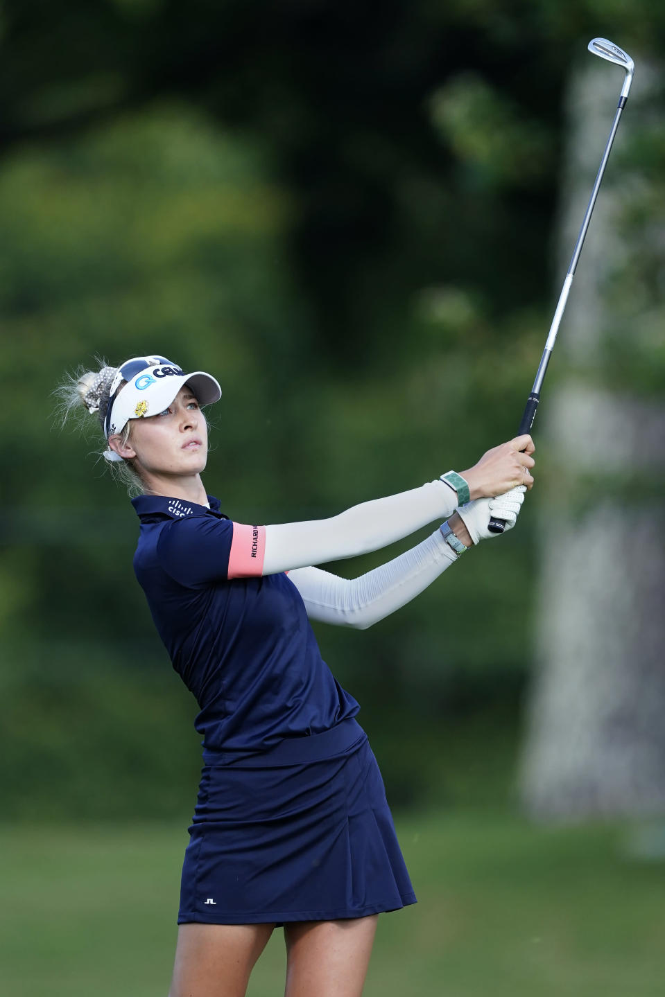 Nelly Korda watchs her shot from the ninth fairway during the second round of play in the KPMG Women's PGA Championship golf tournament Friday, June 25, 2021, in Johns Creek, Ga. (AP Photo/John Bazemore)