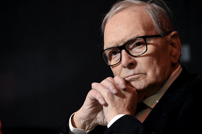 MILAN, ITALY - FEBRUARY 27: Ennio Morricone attends the Honorary Degree at Accademia di Belle Arti di Brera on February 27, 2019 in Milan, Italy. (Photo by Pier Marco Tacca/Getty Images)