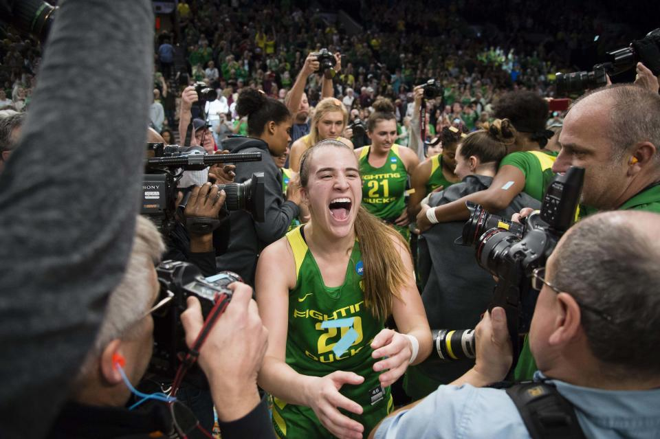 Oregon's Sabrina Ionescu (20) celebrates after a game against Mississippi State during the 2019 NCAA women's tournament. (Troy Wayrynen-USAT Sports)