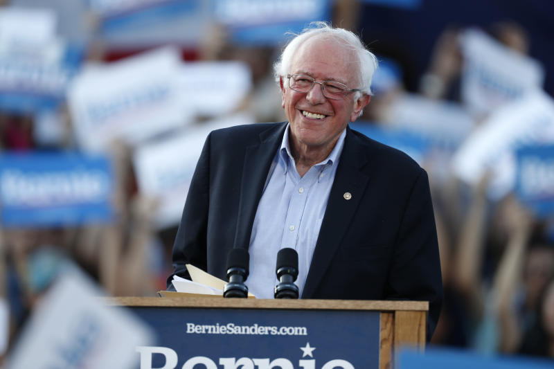 FILE - In this Monday, Sept. 9, 2019 file photo, Democratic presidential candidate Sen. Bernie Sanders, I-Vt., speaks during a rally at a campaign stop, in Denver. Sanders had a heart attack, his campaign confirmed Friday, Oct. 4, 2019,  as the Vermont senator was released from a Nevada hospital. Sanders' campaign released a statement from the 78-year-old's Las Vegas doctors that said the senator was stable when he arrived Tuesday at Desert Springs Hospital Medical Center. (AP Photo/David Zalubowski, File)