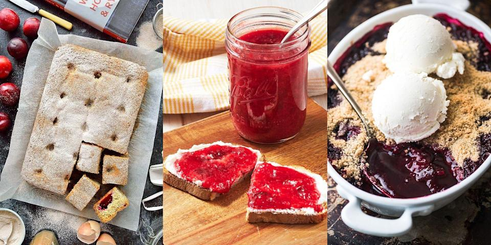 """<p>You can buy plums all-year round, but we can't deny that they taste best between August and October (when they're ripest). Perfect in crumbles, <a href=""""https://www.delish.com/uk/cooking/recipes/a32943701/plum-jam-recipe/"""" rel=""""nofollow noopener"""" target=""""_blank"""" data-ylk=""""slk:jams"""" class=""""link rapid-noclick-resp"""">jams</a> and even <a href=""""https://theviewfromgreatisland.com/easy-plum-amaretto-sorbet-recipe/"""" rel=""""nofollow noopener"""" target=""""_blank"""" data-ylk=""""slk:sorbet"""" class=""""link rapid-noclick-resp"""">sorbet</a>, they're a super versatile and delicious ingredient that'll take any tart-tasting recipe up a notch (<a href=""""https://familystylefood.com/plum-almond-cake/"""" rel=""""nofollow noopener"""" target=""""_blank"""" data-ylk=""""slk:Tahini Plum Cake"""" class=""""link rapid-noclick-resp"""">Tahini Plum Cake</a>, we see you). Not only that, they can be used in both sweet and savoury dishes. We're talking everything from <a href=""""https://domesticgothess.com/blog/2017/09/07/plum-and-poppy-seed-traybake-and-wild-honey-rye-review/"""" rel=""""nofollow noopener"""" target=""""_blank"""" data-ylk=""""slk:Plum and Poppy Seed Traybake"""" class=""""link rapid-noclick-resp"""">Plum and Poppy Seed Traybake</a> to <a href=""""https://www.delish.com/uk/cooking/recipes/a34767842/peking-style-chicken-recipe/"""" rel=""""nofollow noopener"""" target=""""_blank"""" data-ylk=""""slk:Peking Style Chicken"""" class=""""link rapid-noclick-resp"""">Peking Style Chicken</a> (with Duck Sauce). For a range of easy plum recipes, check out some of our favourites now! </p>"""