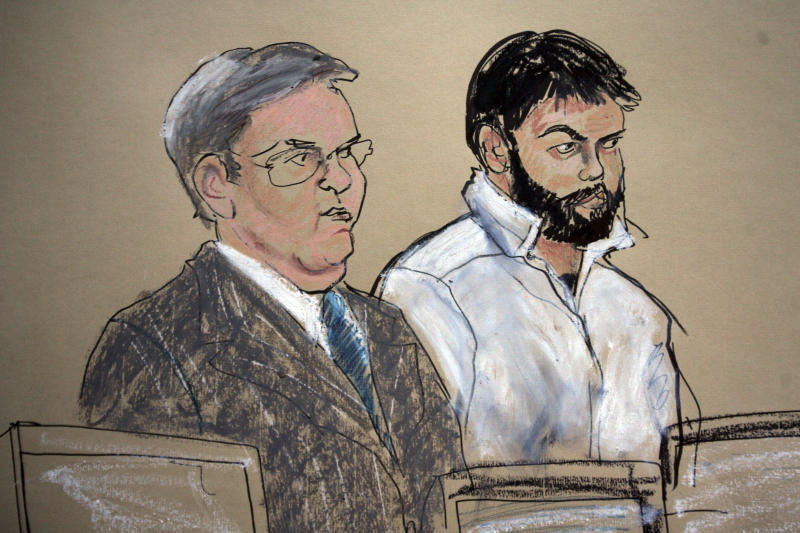 FILE - This Jan. 8, 2010 courtroom file sketch shows Zarein Ahmedzay, right, with his attorney Michael Marinaccio during his arraignment at Brooklyn Federal court in New York. In his first public account, Ahmedzay testified Monday, April 16, 2012, that Adis Madunjanin, accused of becoming an al-Qaida operative, discussed bombing New York City movie theaters, Grand Central Terminal, Times Square and the New York Stock Exchange before settling on the city's subways, encouraged Ahmedzay to follow a more radical form of Islam. (AP Photo/Elizabeth Williams, File)