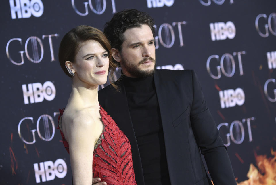 "Rose Leslie, left, and Kit Harington attend HBO's ""Game of Thrones"" final season premiere at Radio City Music Hall on Wednesday, April 3, 2019, in New York. (Photo by Evan Agostini/Invision/AP)"