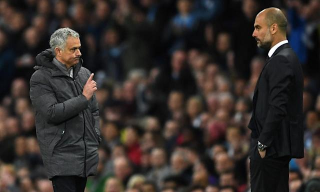 "<span class=""element-image__caption"">José Mourinho and Pep Guardiola during the dismal midweek derby match between Manchester United and Manchester City.</span> <span class=""element-image__credit"">Photograph: Laurence Griffiths/Getty Images</span>"