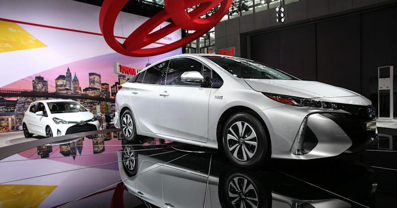 A Toyota Prius Plug-in Hybrid model car is on display during the 116th New York International Auto Show.