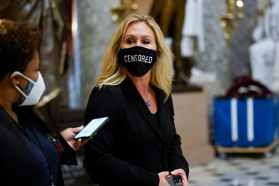 "Rep. Marjorie Taylor Greene, R-Ga., on Capitol Hill Jan. 13, wearing a ""CENSORED"" face mask."