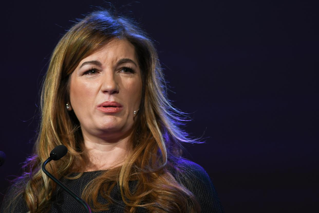 Baroness Karren Brady, a Member of Parliament of the United Kingdom, a sporting executive, tv personality, newspaper columnist, author and novelist, speaks at Pendulum Summit, World's Leading Business & Self Empowerment Summit, in Dublin Convention Center. On Thursday, January 10, 2019, in Dublin, Ireland. (Photo by Artur Widak/NurPhoto via Getty Images)