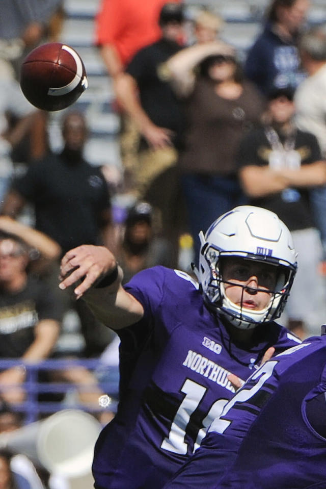 FILE - In this Sept. 3, 2016, file photo, Northwestern quarterback Aidan Smith throws a pass during the first quarter of an NCAA college football game against Western Michigan in Evanston, Ill. As he listened to his teams introduction during last months Big Ten Kickoff Luncheon, Northwestern coach Pat Fitzgerald was a bit stunned by what he heard. Clayton Thorson leaves as the winningest quarterback in Northwestern history, the Big Ten Networks Rick Pizzo said, reading from a script. But hell be replaced by five-star Clemson transfer Hunter Johnson. That was news to Fitzgerald, who said the competition for starting quarterback at the beginning of fall camp was wide open with Hunter, senior TJ Green and junior Aidan Smith being the main contenders. (AP Photo/Matt Marton, File)