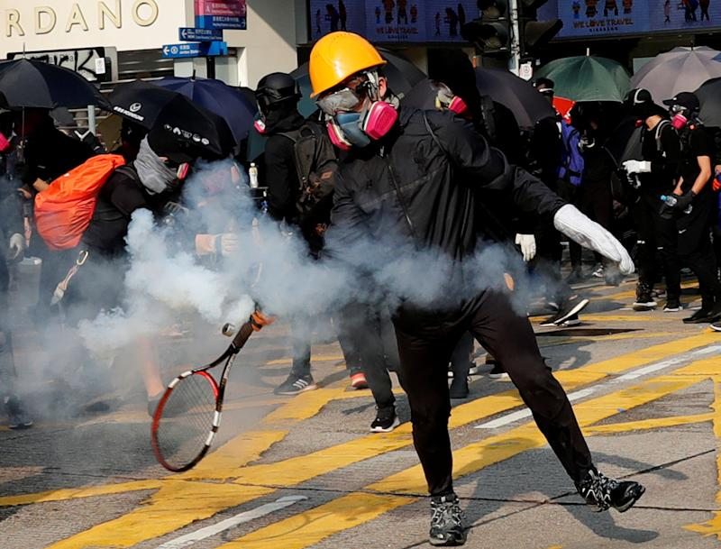An anti-government demonstrator in Hong Kong